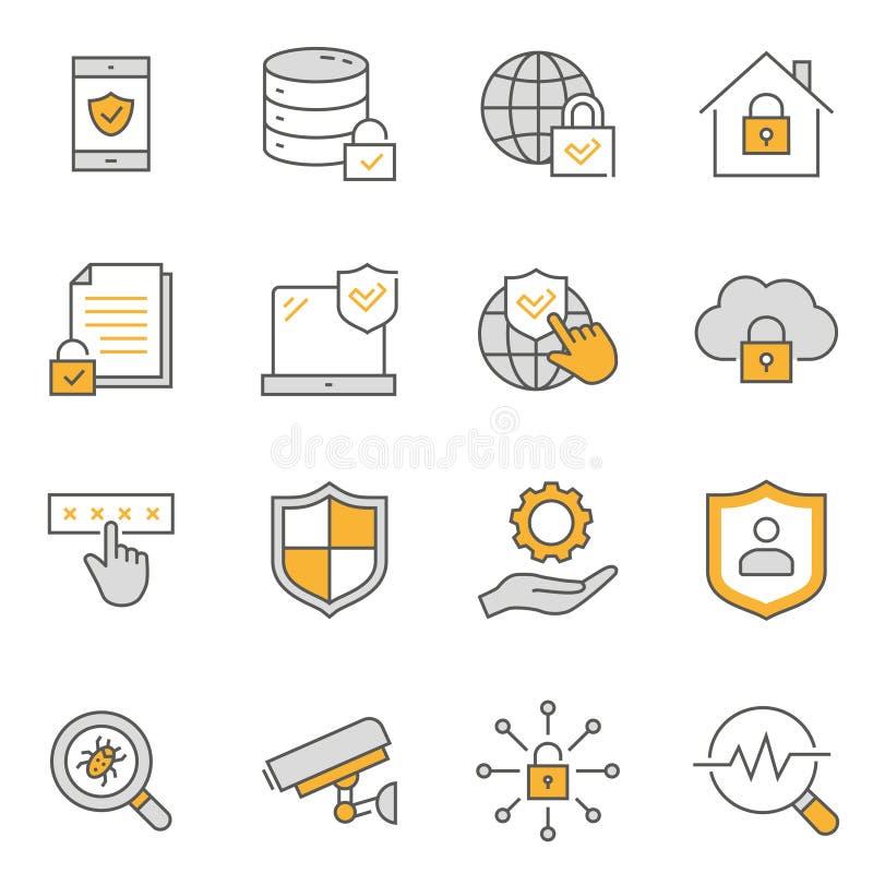 Línea plana sistema de la seguridad del icono Ilustraci?n del vector Movimiento Editable stock de ilustración