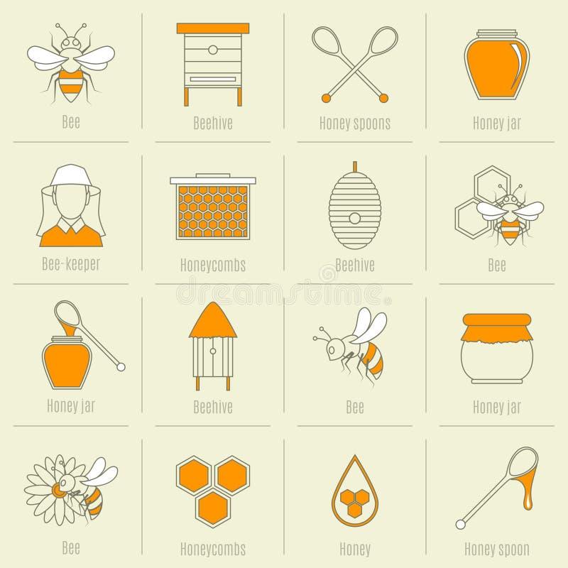 Línea plana sistema de los iconos de la miel de la abeja stock de ilustración