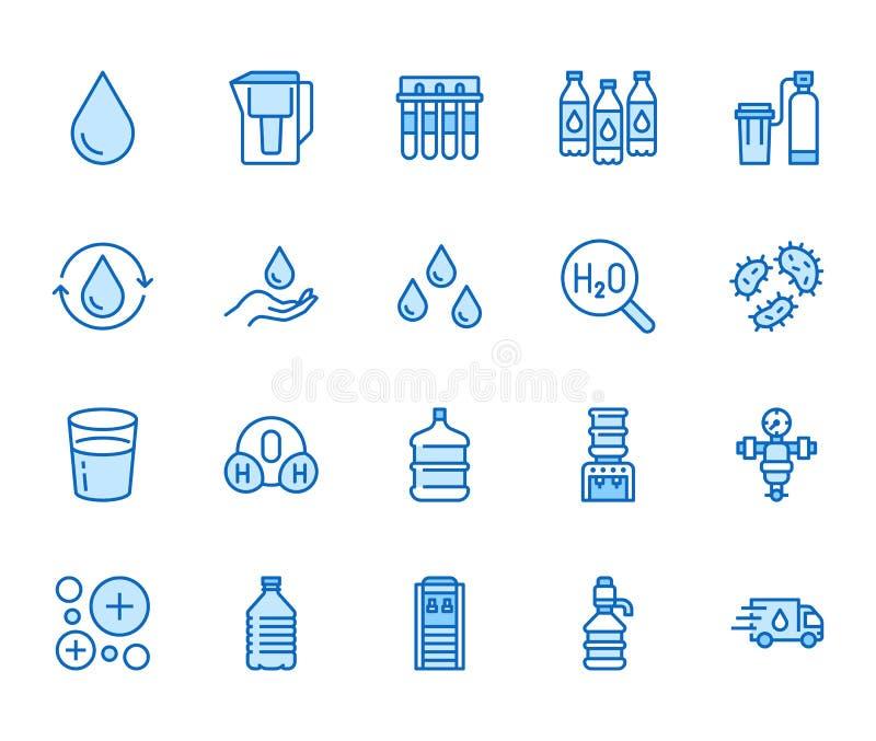 Línea plana sistema del descenso del agua de los iconos La aguamarina filtra, suavizador, ionización, desinfección, ejemplos de c stock de ilustración
