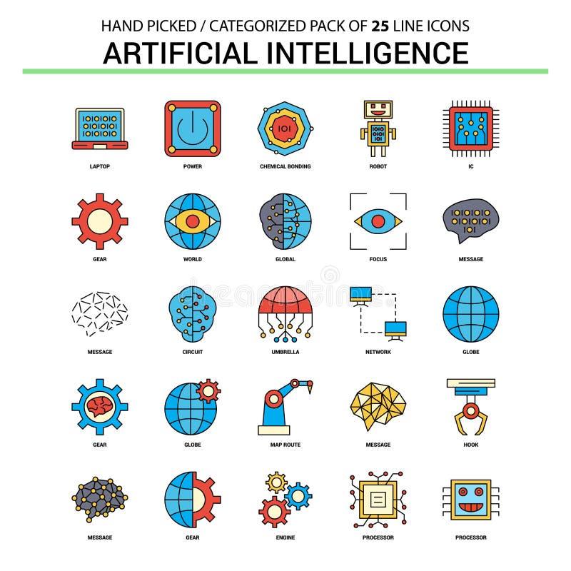 Línea plana sistema del icono - concepto Ic de la inteligencia artificial del negocio libre illustration