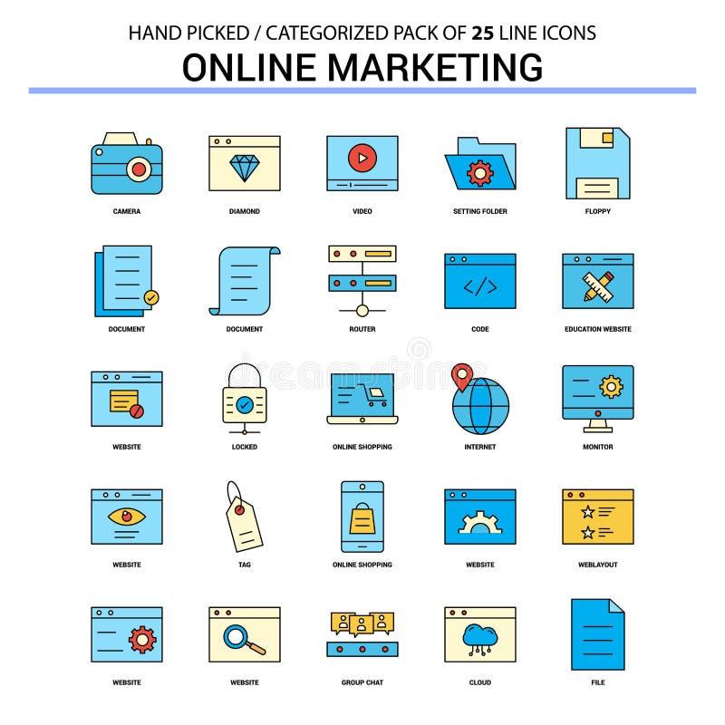 Línea plana sistema del icono - DES del márketing en línea de los iconos del concepto del negocio ilustración del vector