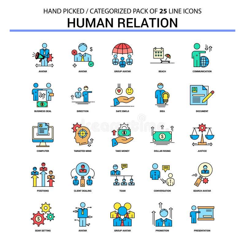 Línea plana sistema del icono - iconos Desig de la relación humana del concepto del negocio ilustración del vector