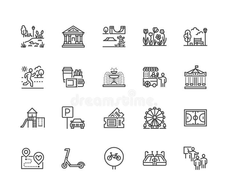 Línea plana sistema del parque de los iconos Jardín botánico, carrusel, noria, museo, excursión, charca, comida de la calle, fuen stock de ilustración