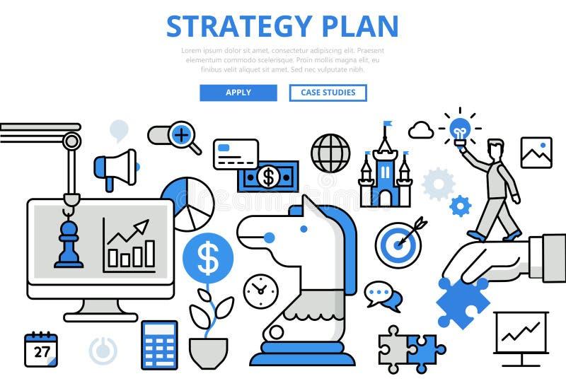 Línea plana vector del concepto estratégico del negocio del plan de la estrategia del arte ilustración del vector