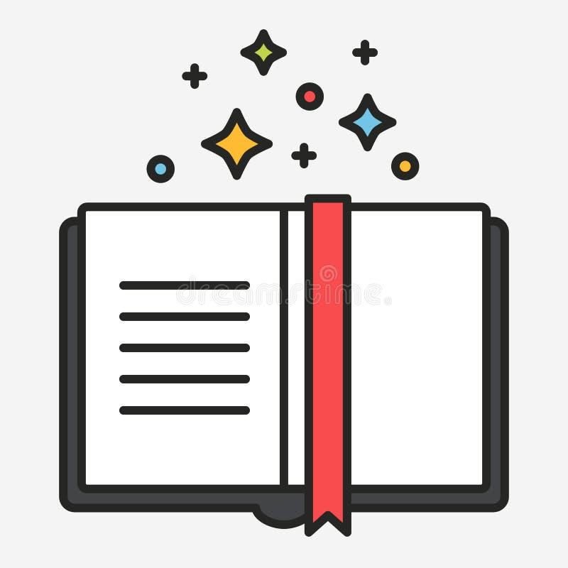 Línea plana vector del libro de los trucos mágicos del estilo libre illustration
