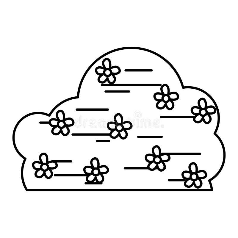 Línea planta del arbusto de la primavera con estilo de las flores ilustración del vector