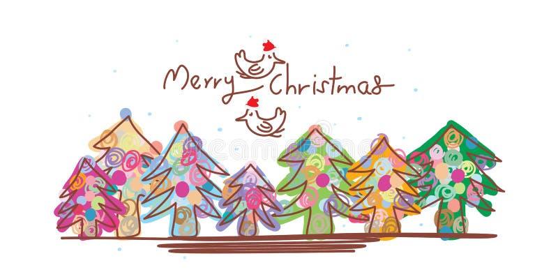 Línea plantilla de la Navidad de la bandera de Navidad del pájaro ilustración del vector