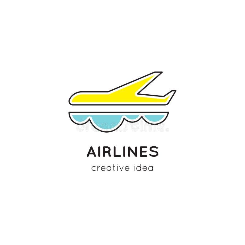 Línea plantilla de las líneas aéreas del logotipo ilustración del vector
