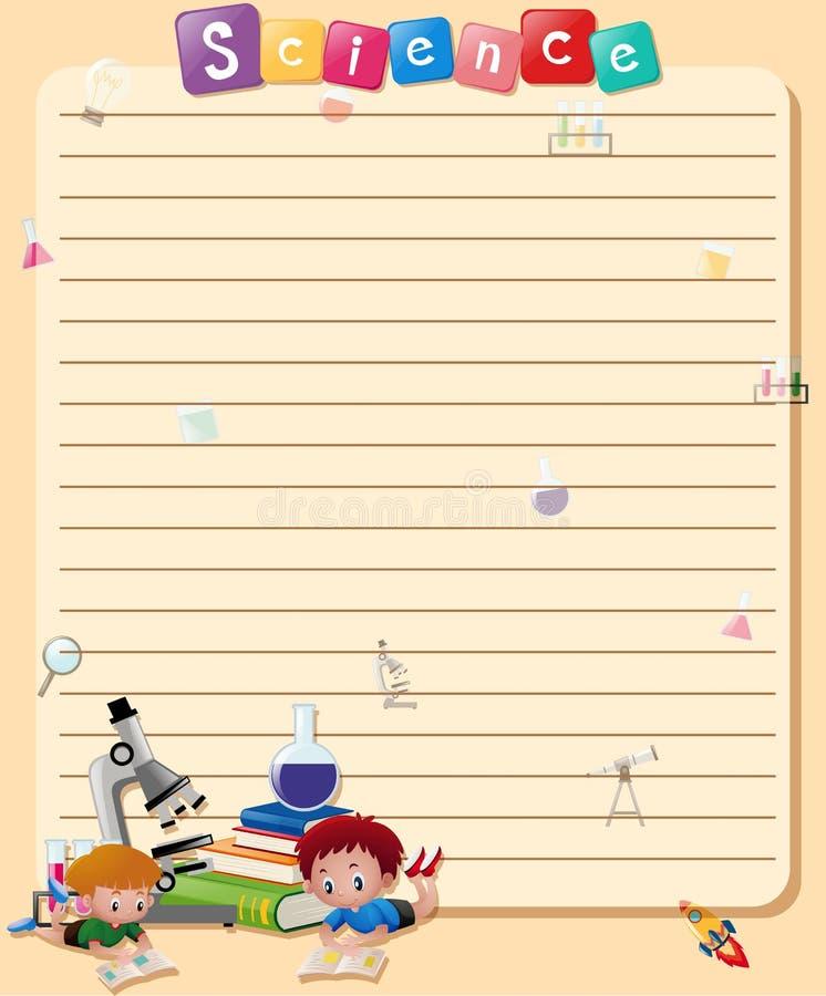 Línea plantilla de papel con el libro de lectura de los muchachos ilustración del vector