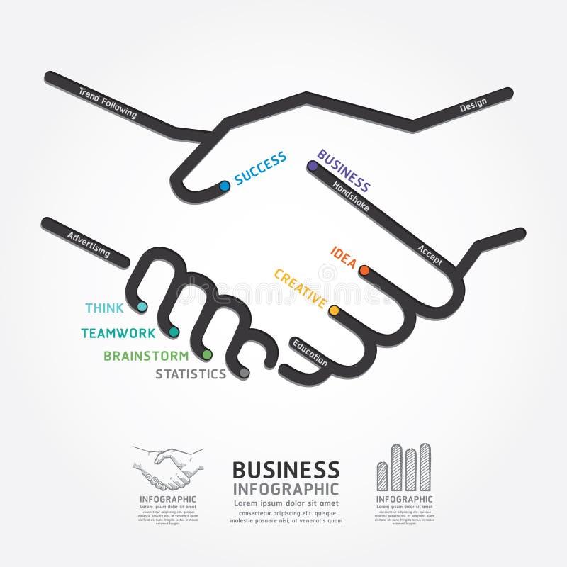 Línea plantilla del diagrama del apretón de manos del negocio del estilo ilustración del vector