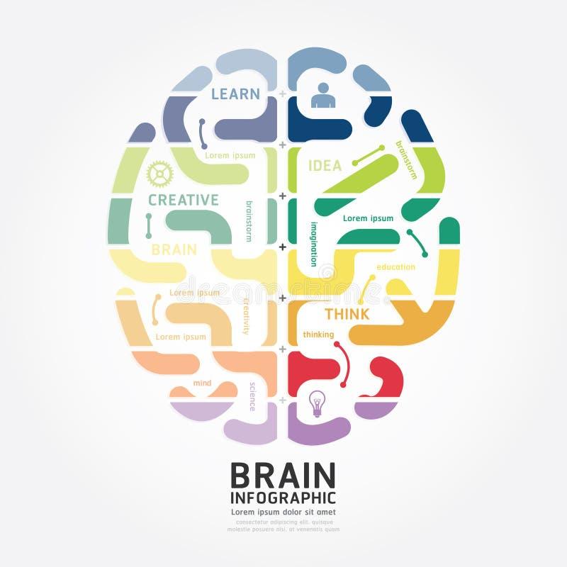 Línea plantilla del diagrama del diseño del cerebro del vector de Infographics del estilo libre illustration