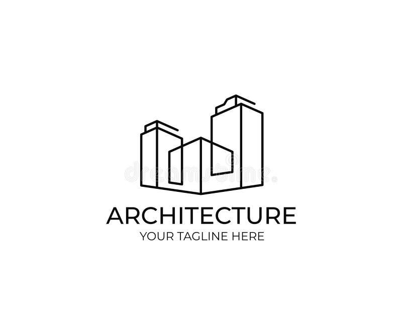 Línea plantilla del logotipo de los edificios Diseño abstracto del vector de la propiedad inmobiliaria comercial libre illustration