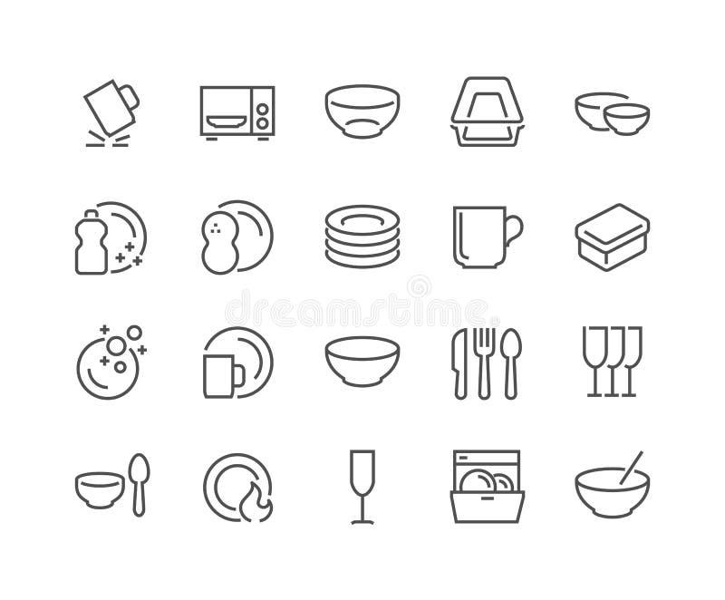 Línea plato e iconos de las placas stock de ilustración