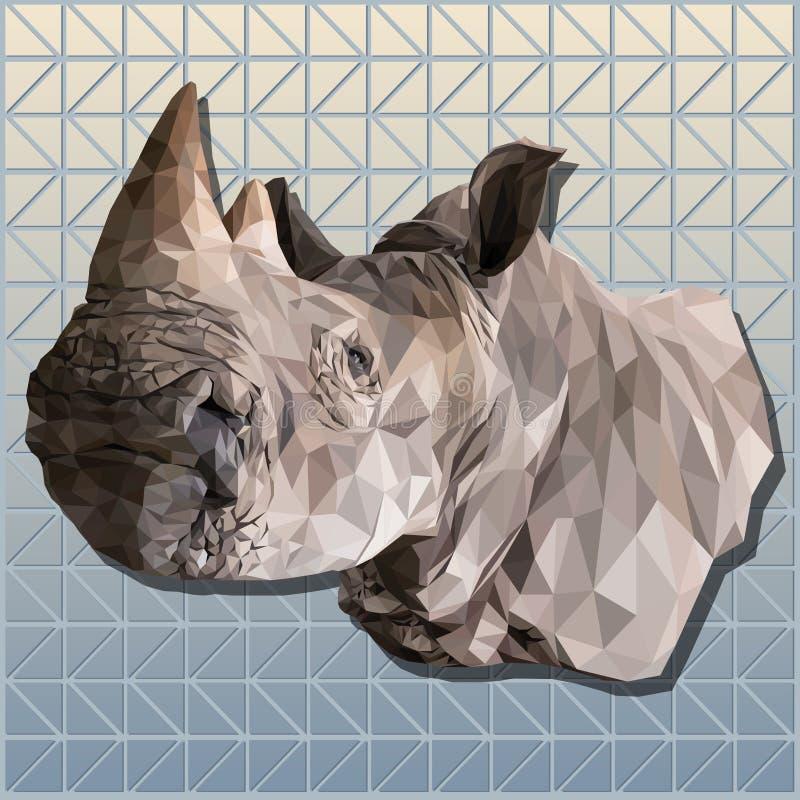 Línea poligonal arte del ejemplo del vector 3d del rinoceronte imágenes de archivo libres de regalías
