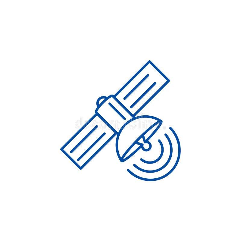 Línea por satélite concepto del icono Símbolo plano por satélite del vector, muestra, ejemplo del esquema stock de ilustración