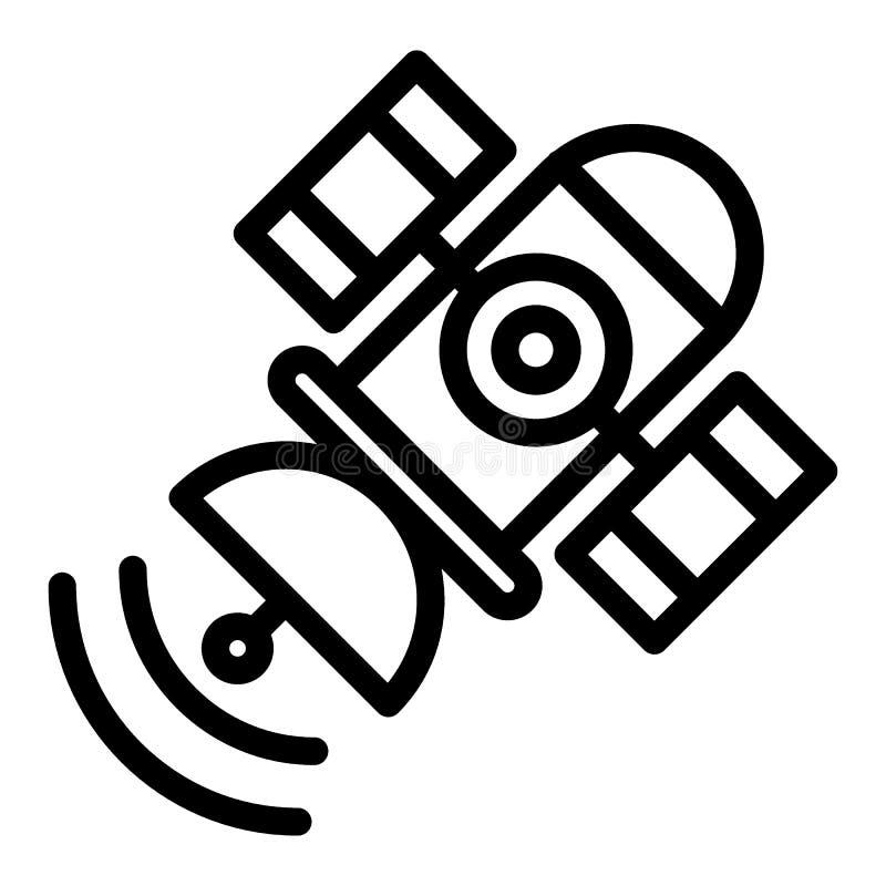 Línea por satélite icono del espacio Ejemplo del vector de Sputnik aislado en blanco Diseño del estilo del esquema de la telecomu stock de ilustración