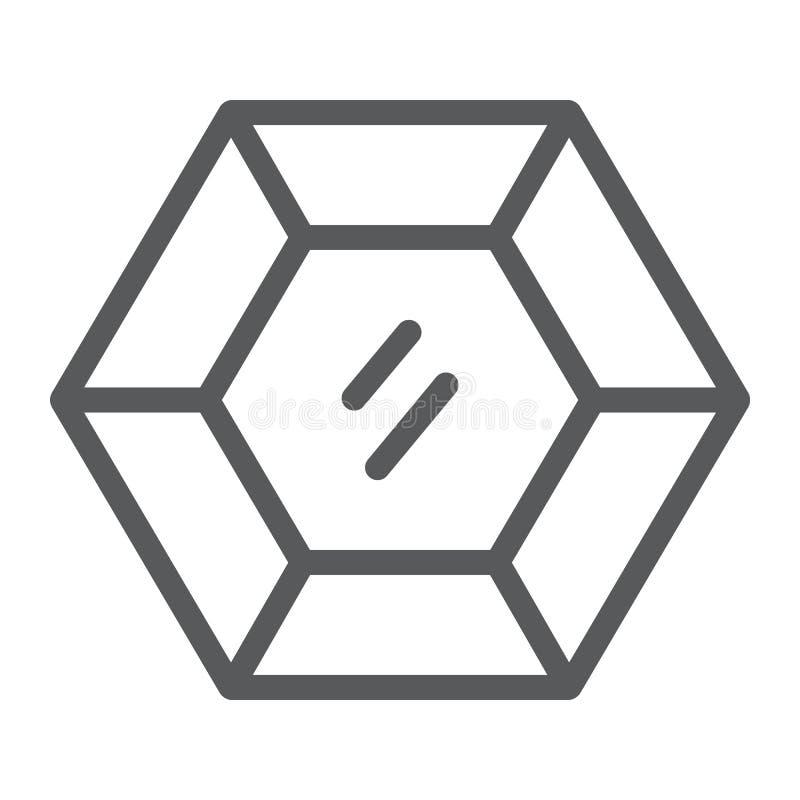 Línea preciosa icono de la piedra preciosa, joyería y diamante, muestra brillante, gráficos de vector, un modelo linear en un bla ilustración del vector