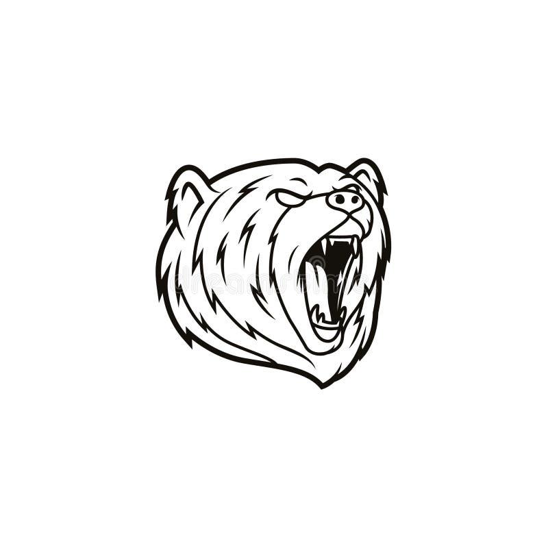 Línea principal Art Logo Icon del oso ilustración del vector