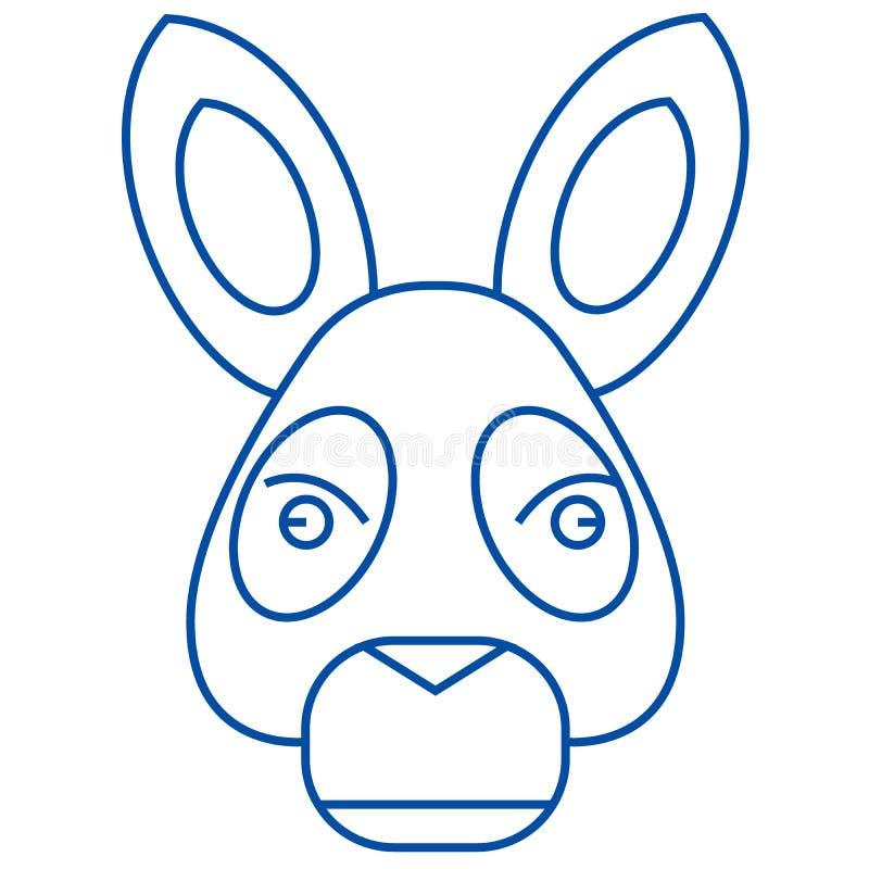 Línea principal concepto del burro del icono Símbolo plano del vector de la cabeza del burro, muestra, ejemplo del esquema stock de ilustración