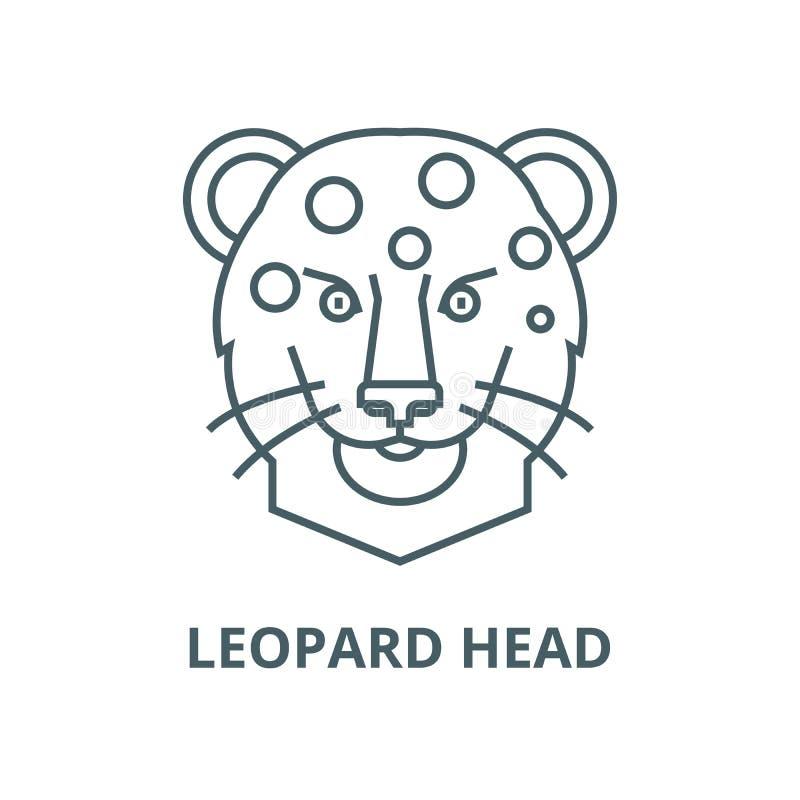 Línea principal icono, concepto linear, muestra del esquema, símbolo del vector del leopardo ilustración del vector