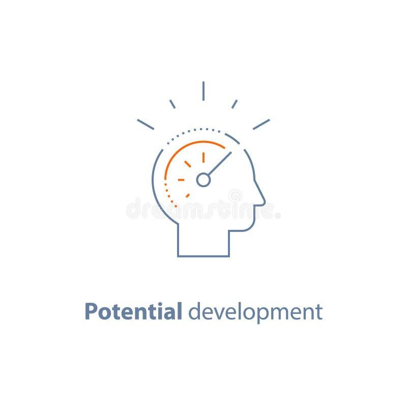 Línea principal icono, concepto potencial del desarrollo, crecimiento personal stock de ilustración