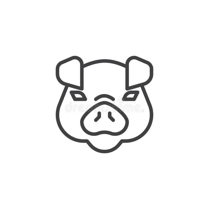 Línea principal icono del cerdo stock de ilustración
