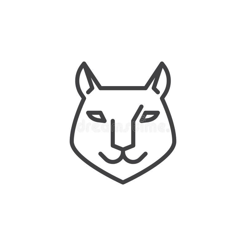 Línea principal icono del lince libre illustration