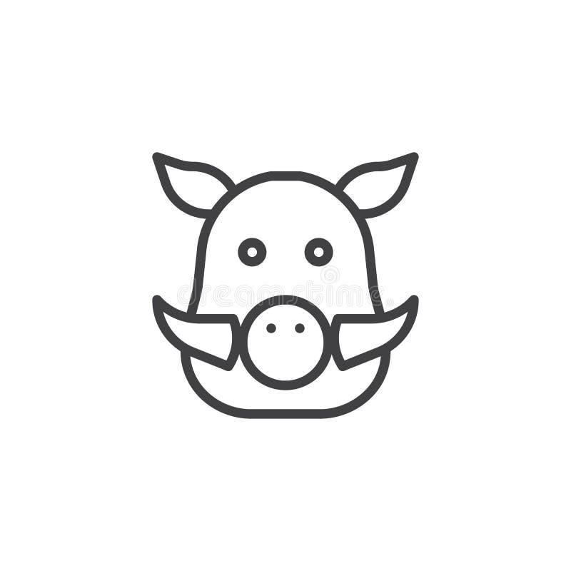Línea principal icono del verraco libre illustration