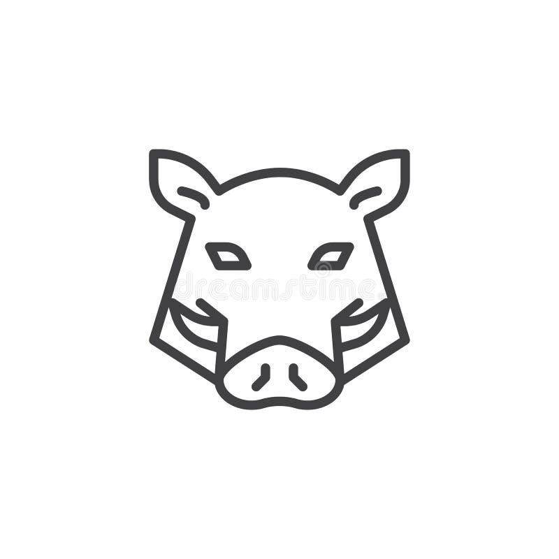 Línea principal icono del verraco stock de ilustración
