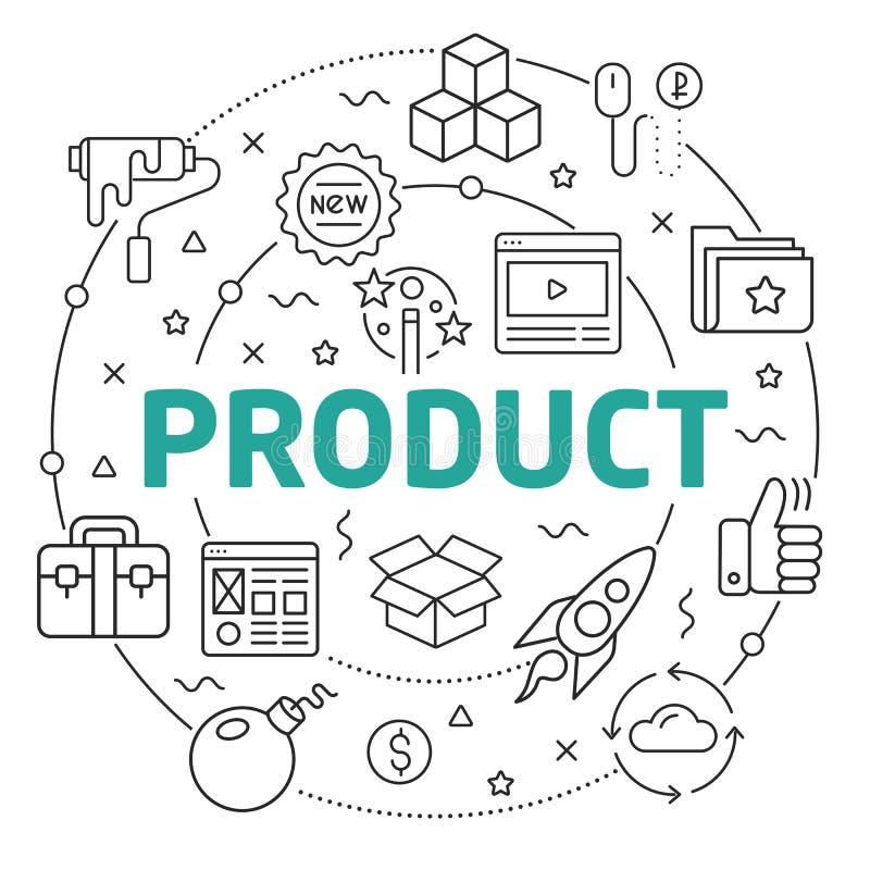Línea producto plano del ejemplo del círculo stock de ilustración