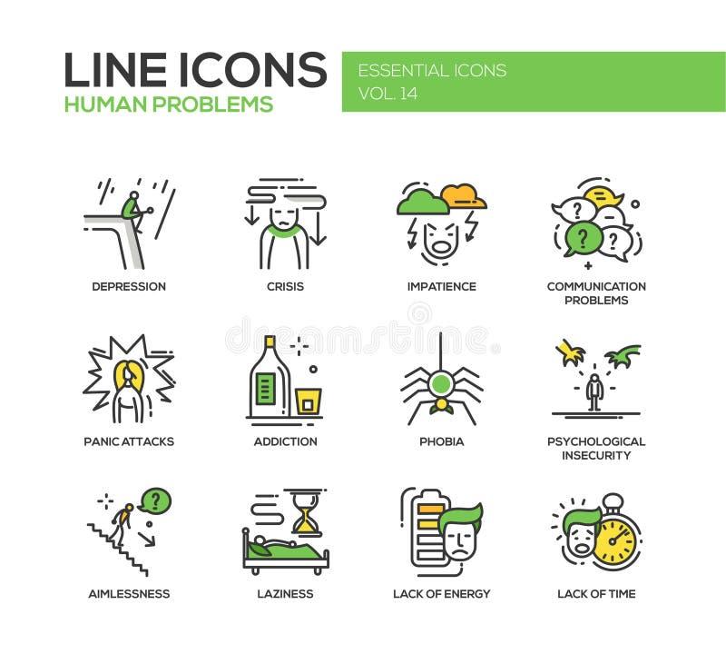 Línea psicológica humana iconos de los problemas del diseño fijados stock de ilustración
