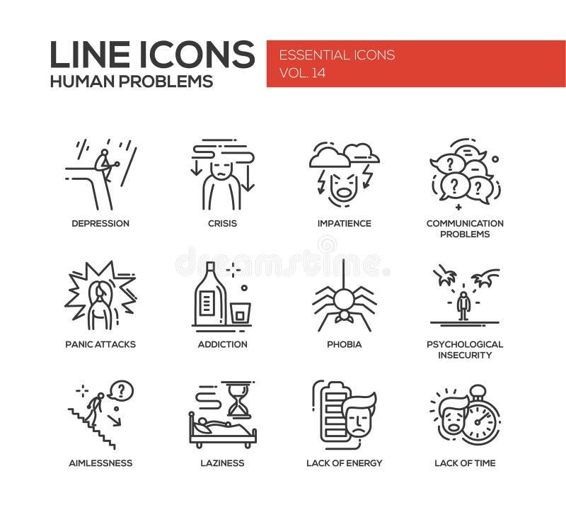 Línea psicológica humana iconos de los problemas del diseño fijados ilustración del vector