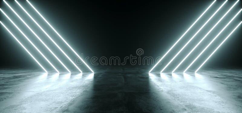 Línea que brilla intensamente luces del neón blanco futurista de Sci Fi en la oscuridad vacía R ilustración del vector