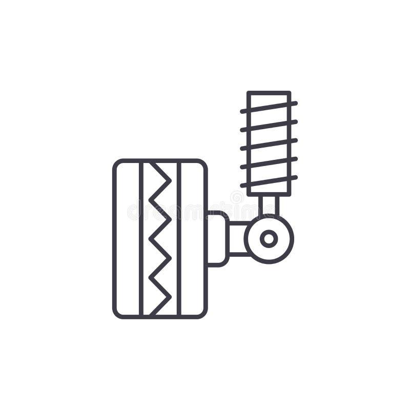 Línea que cabe concepto del neumático del icono Ejemplo linear del vector del neumático que cabe, símbolo, muestra ilustración del vector