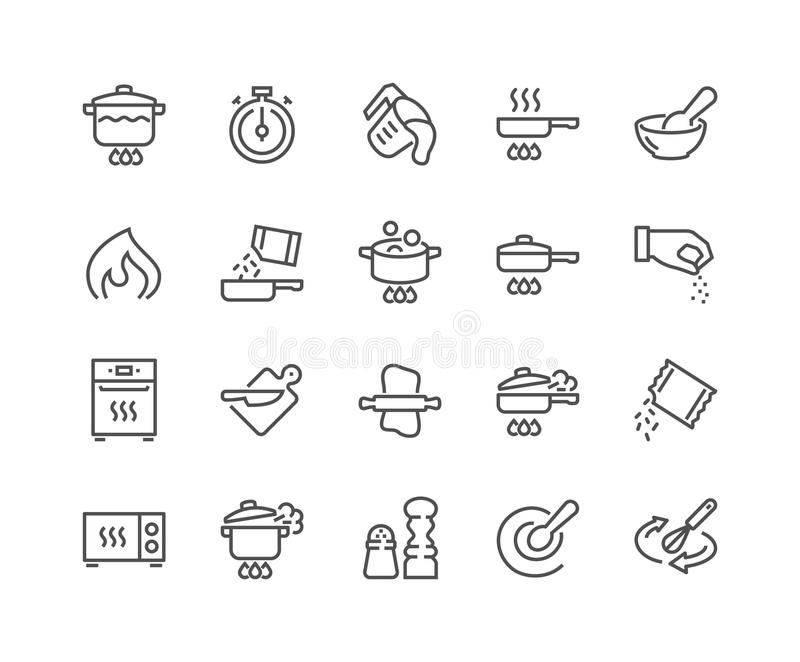 Línea que cocina iconos ilustración del vector