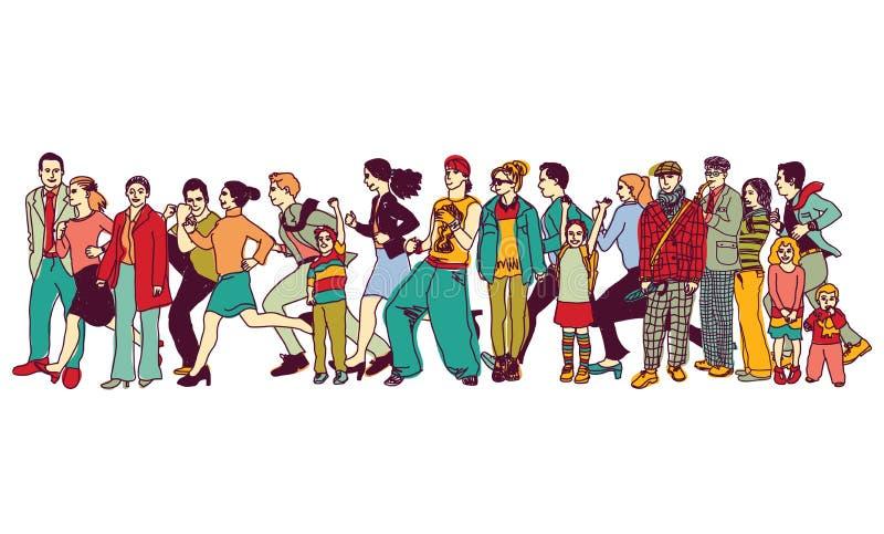 Línea que espera del grupo de la gente de la cola derecha grande de la cola stock de ilustración
