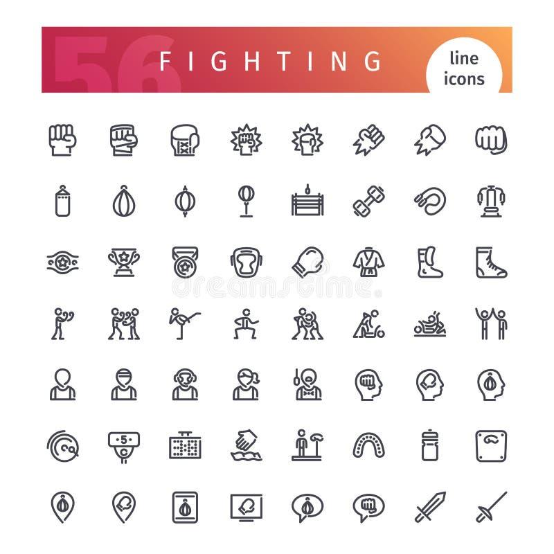 Línea que lucha iconos fijados ilustración del vector