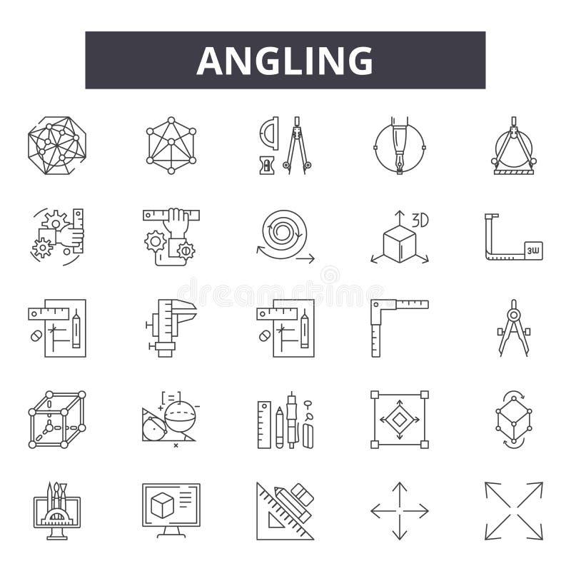 Línea que pesca con caña iconos, muestras, sistema del vector, concepto del ejemplo del esquema stock de ilustración