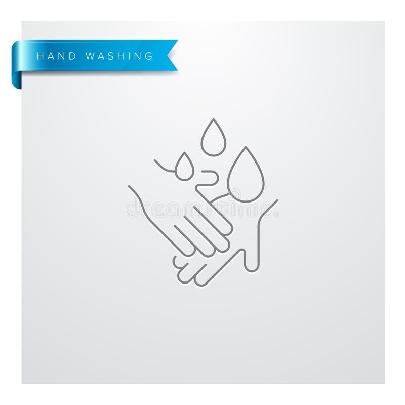 Línea que se lava icono de la mano ilustración del vector