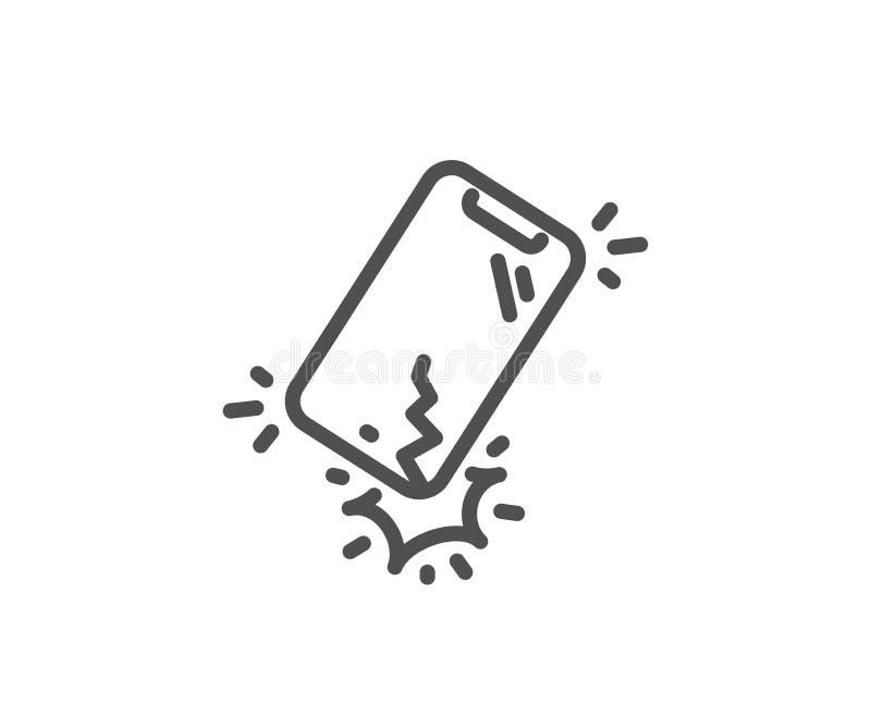 Línea quebrada icono de Smartphone Muestra de la grieta del teléfono DISPOSITIVO M?VIL Vector ilustración del vector