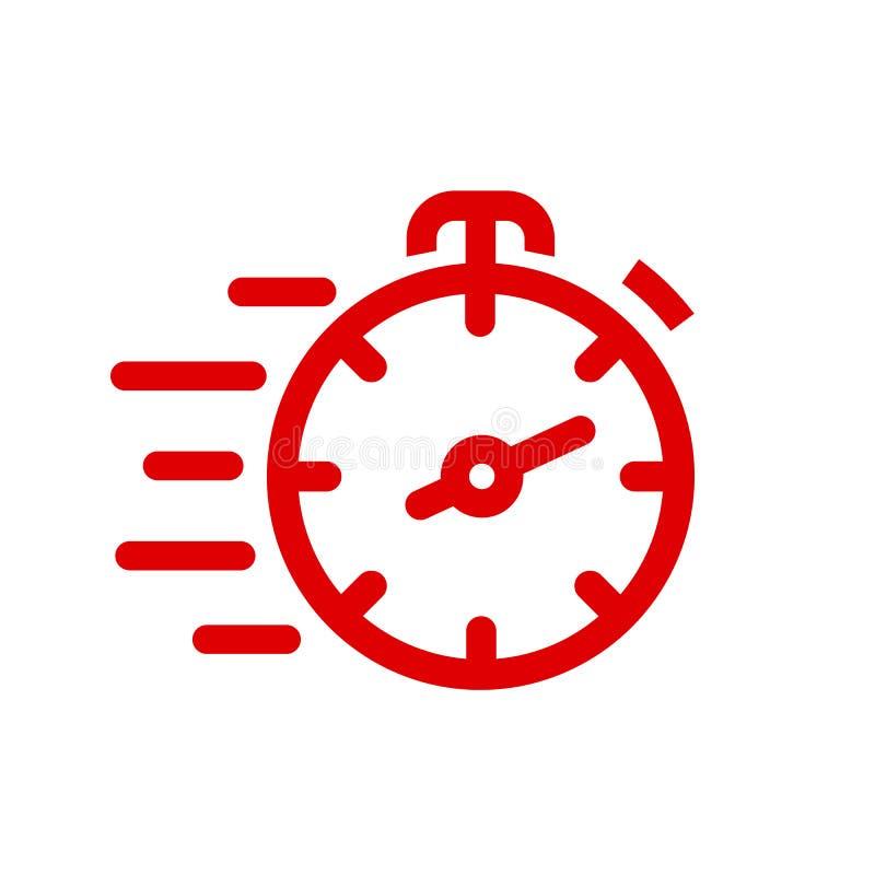 Línea rápida icono del cronómetro Muestra rápida del tiempo Urgencia del símbolo del reloj de la velocidad, plazo, gestión de tie ilustración del vector
