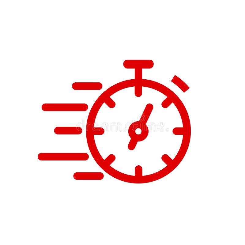 Línea rápida icono del cronómetro Muestra rápida del tiempo Urgencia del símbolo del reloj de la velocidad, plazo, gestión de tie stock de ilustración