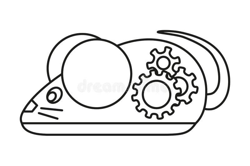 Línea ratón mecánico blanco y negro del arte ilustración del vector