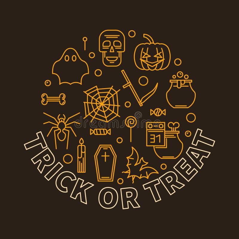 Línea redonda ejemplo del día de fiesta de Halloween del vector del truco o de la invitación ilustración del vector