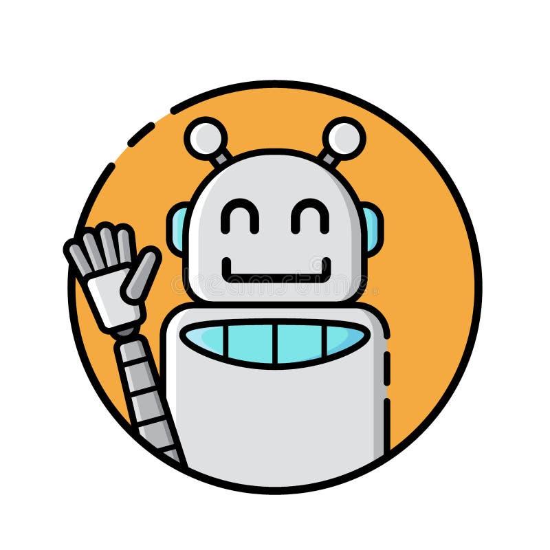 Línea redonda estilo del icono del robot en el fondo blanco stock de ilustración