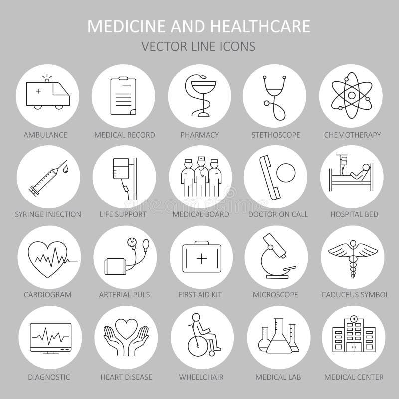 Línea redonda fina moderna de iconos en medicina ilustración del vector