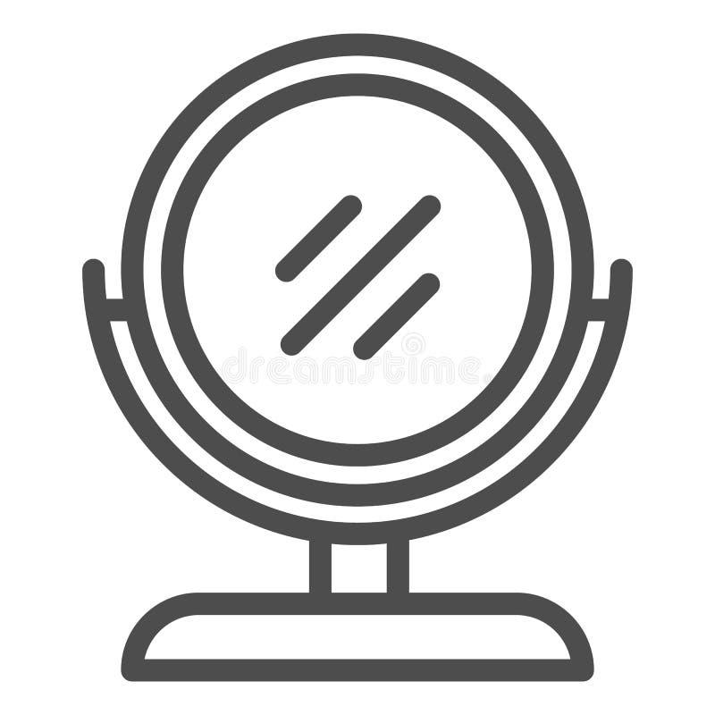 Línea redonda icono del espejo del maquillaje Ejemplo del vector del espejo del escritorio aislado en blanco Diseño del estilo de libre illustration