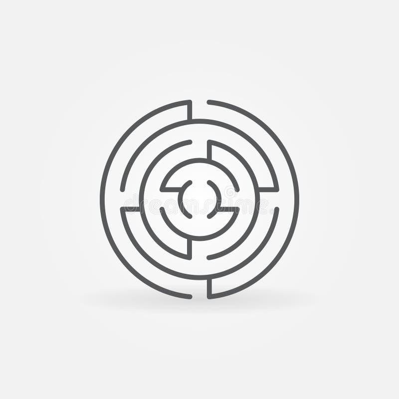 Línea redonda icono del laberinto libre illustration