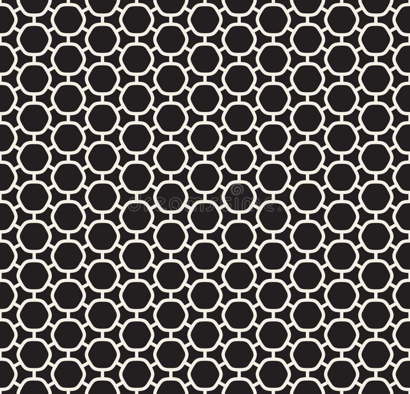 Línea redondeada blanco y negro inconsútil modelo simple conectado del hexágono del vector de la rejilla stock de ilustración