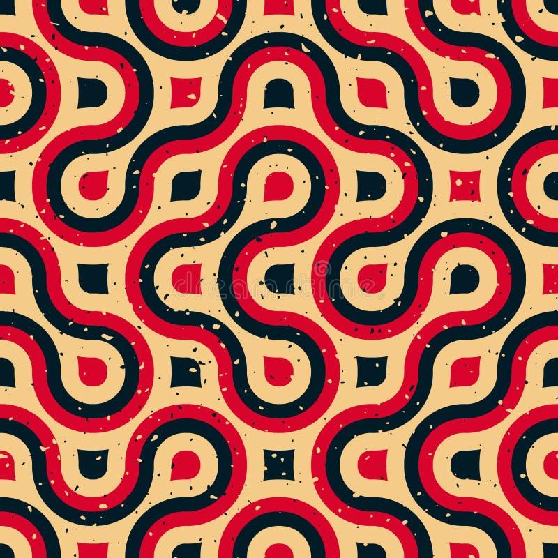 Línea redondeada pendiente de semitono inconsútil rojo azul irregular Tan Grungy Pattern del vector ilustración del vector